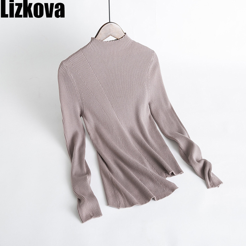 Fall Women White Half Collar Knitted Pullover Sweater Wool Blending Irregular Hem Design Concise style