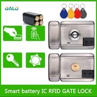 Porta elétrica fechadura da porta a pilhas/12vdc 13.56 ic rfid leitor kit sistema de controle acesso fechadura da porta elétrica com 10tags|Trava elétrica|   -