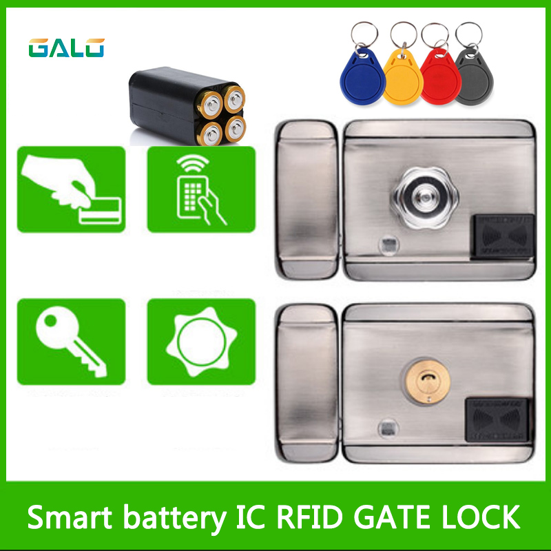 Electric Door Lock Battery Powered /12VDC 13.56 IC RFID Reader Electric Gate Door Lock Access Control System Kit With 10tags