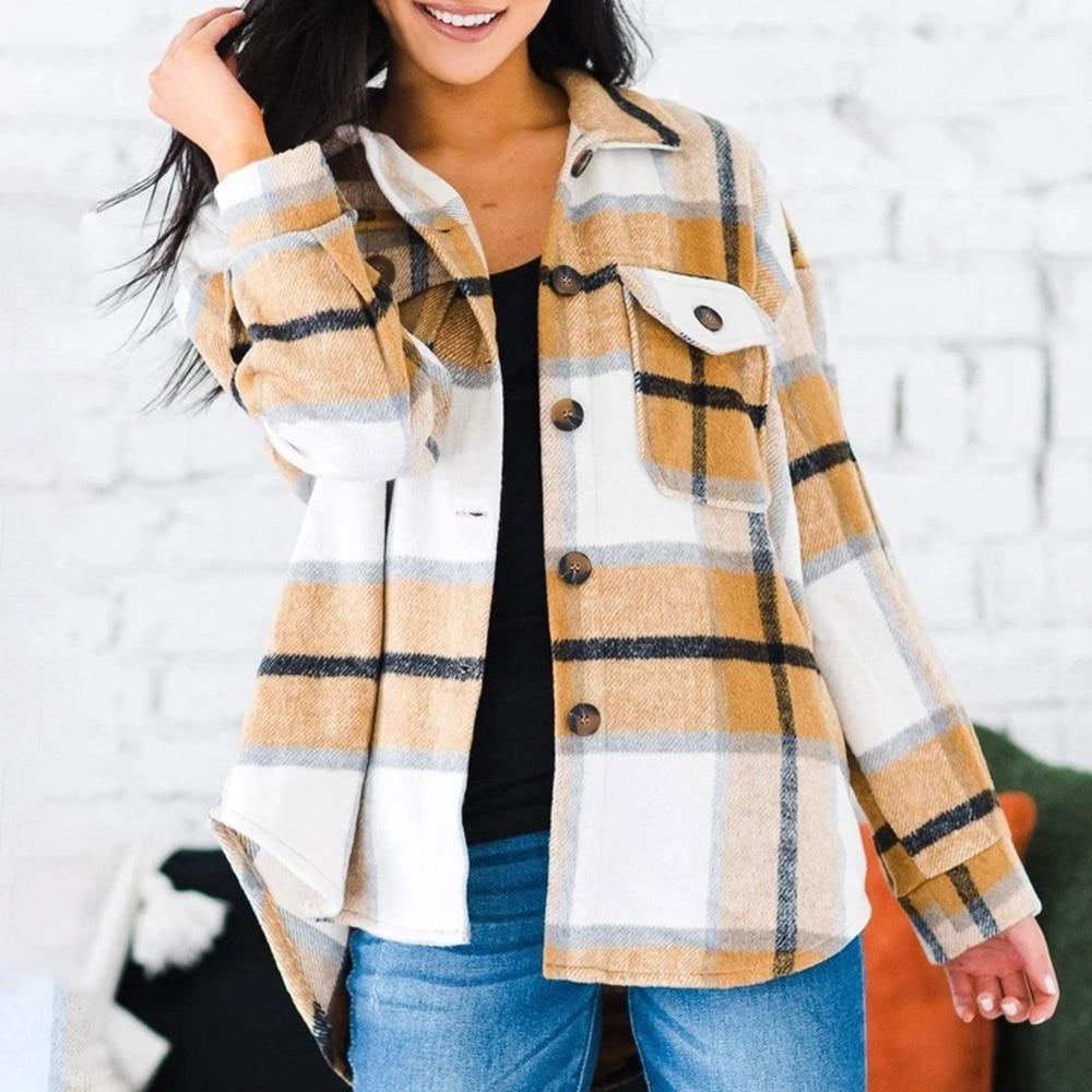 Women Loose Woolen Plaid Blouse Female Autumn Spring Casual Basic Lapel Outwear Office Lady Jacket Coat Trendy 2020 New