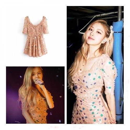 Kpop Blackpink Rose Same European American Style 2020 Summer Slim Pink Dress Women Lace Sequins Splice High Waist Sexy Dresses Dresses Aliexpress