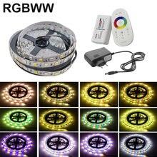 5M 10M 5050 RGBWW LED bande lumière lampe 20M 15M RGB bande néon Flexible ruban Diode ruban DC 12V adaptateur ensemble chaîne