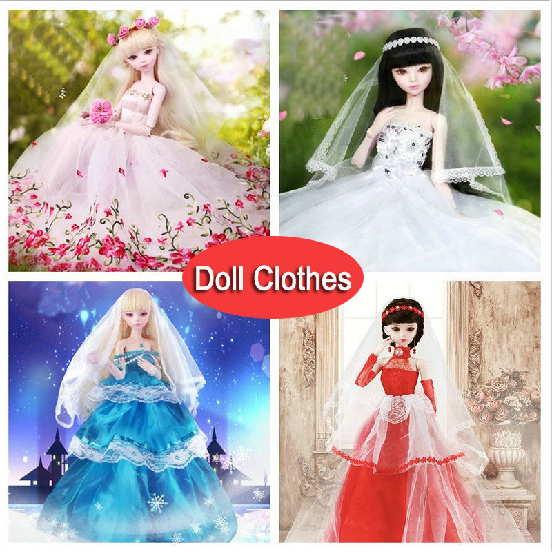 1/3 BJD Doll's Clothes Wedding Dress Bridal Gown Evening Dress For 55-60cm Dolls Toy Doll Accessories