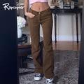 Rapcopter Коричневые Вельветовые брюки для девочек для женщин Harajuku брюки карго Y2K ретро брюки осень-зима низкая талия штаны 90S Уличная Новый