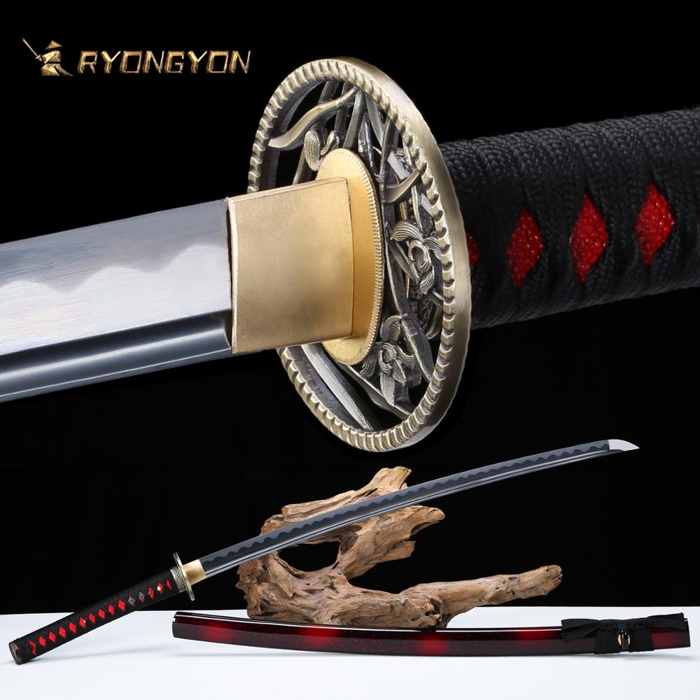 RYONGYON Handmade Katana Real Sword Sharp Genuine Japanese Samurai Sword Japan Ninja Sword 1095 Steel Full Tang Blade 502