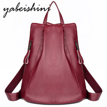 Womens leather backpack Female Shoulder Bag Sac a Dos Vintage Ladies Bagpack high quality School Bags Mochilas High capacity For Girls Preppy