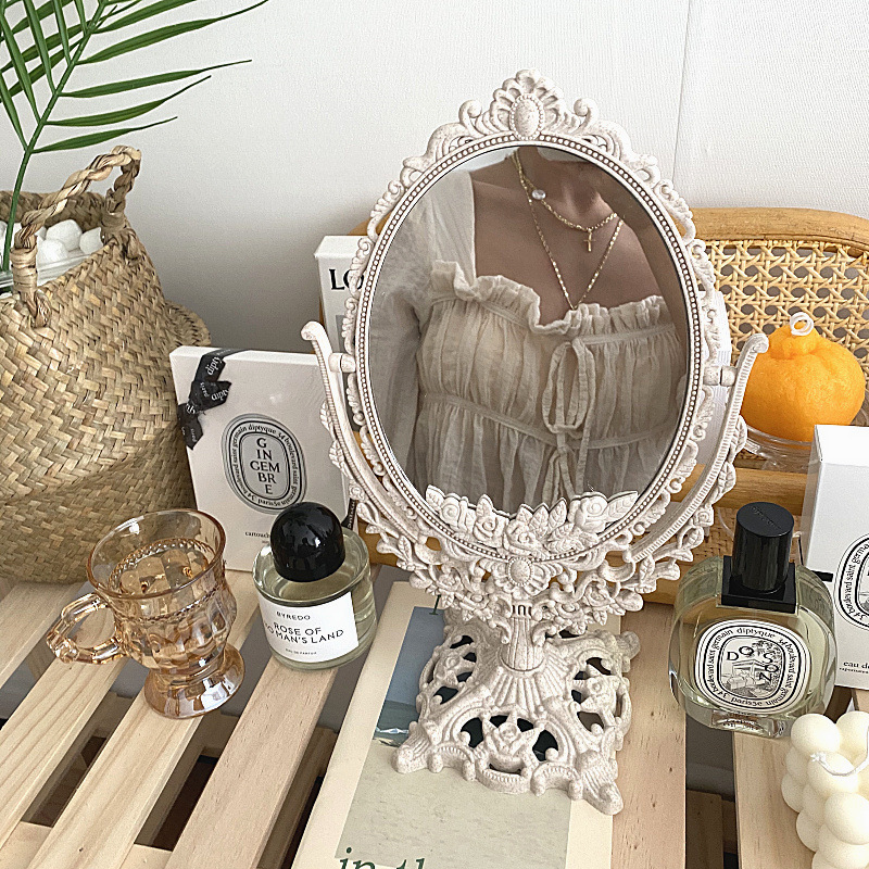 Cutelife Nordic Silver Plastic Vintage Decorative Mirror Small Round Make-up Bedroom Mirror Ins Table Room Standing Glass Mirror
