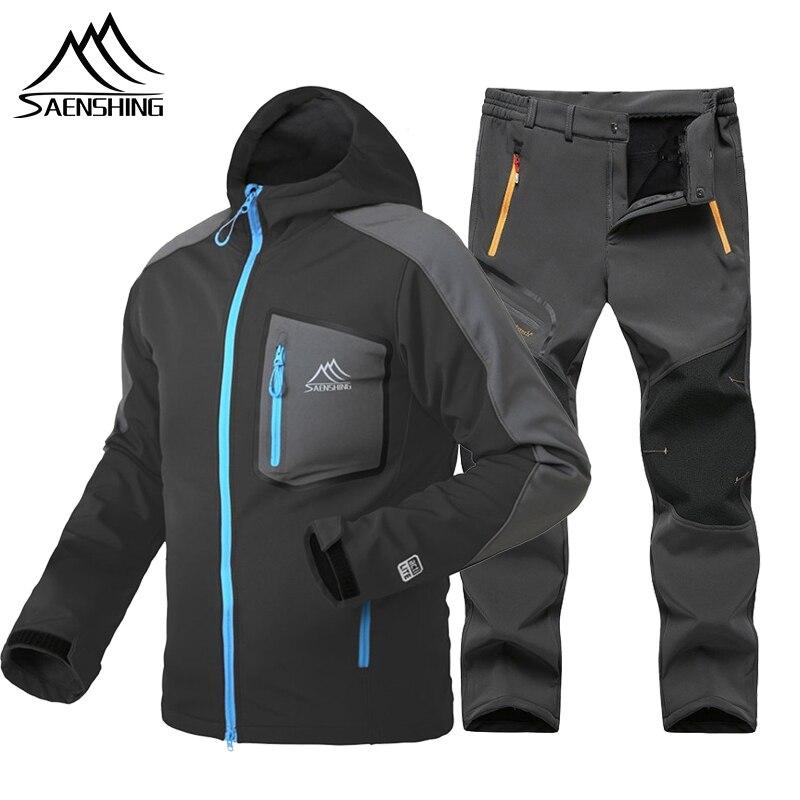 SAENSHING Men Softshell Fleece Jacket+Pants Waterproof Warm Outdoor Hiking Trekking Camping Jacket Climb Sport Suit