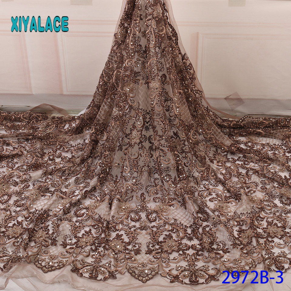 Handmade Lace Nigerian African French Lace Fabric Beaded 3D Lace Fabrics 2019 High Quality Lace Tulle For Party Dress YA2972B-3