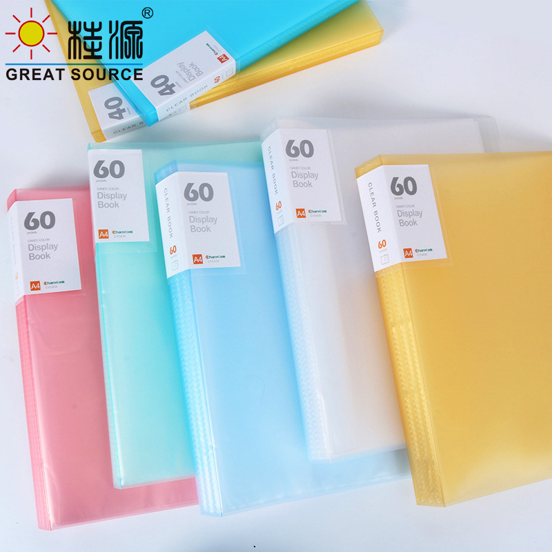 A4 PP Presentation Book  Display Book Project Folder 20 Transparent Pockets Fancy Candy Color 1PC