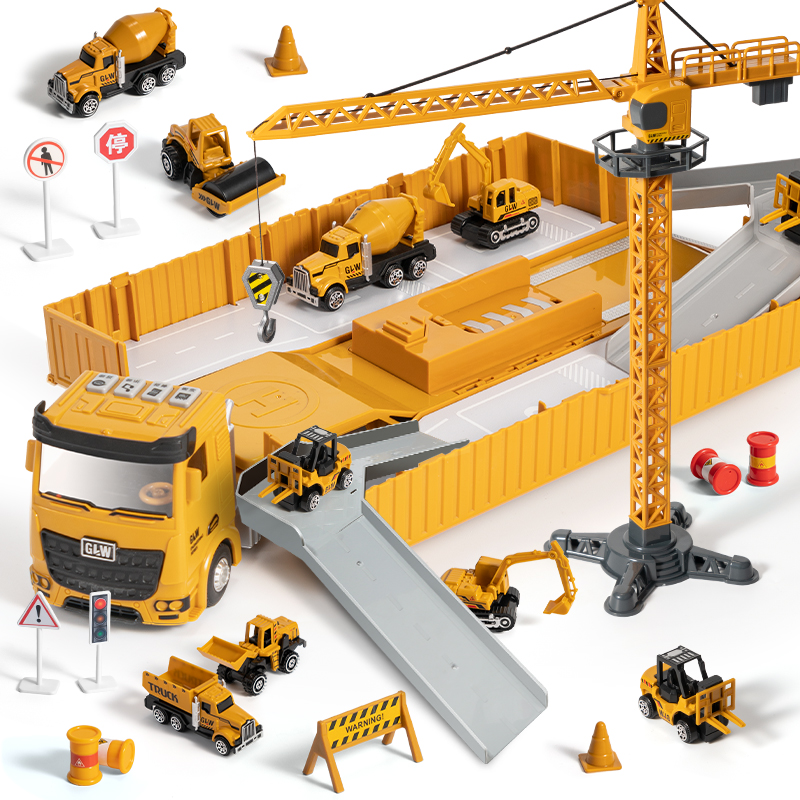 Tractor Alloy Engineering Vehicle Parking Lot Car Set Toys For Children Music And Light Toy Boy Construction Site Toy Excavator