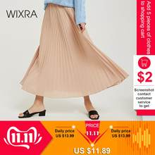 Wixra 2019 New Solid Pleated Skirts With Sashes High Waist A Line Long Skirt Summer Autumn Ladies Bottom(China)