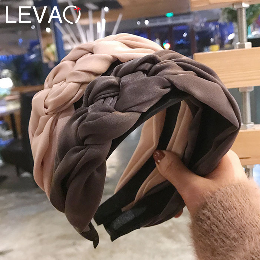 Levao Twist Braid Satin Headband Solid Braided Side Knotted Hairband Wide-Brimmed Hair Hoop Bezel Girls Hair Accessories