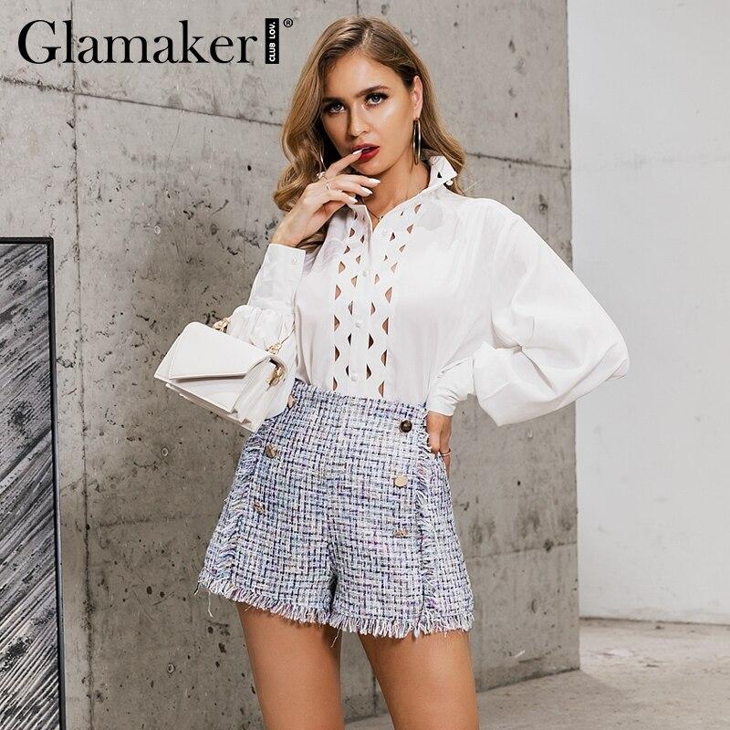 Glamaker Buttons Hight Waist Retro Tweed Shorts Women Tassel Fringe Plaid Shorts Bottom Female Vintage Slim Office Ladies Shorts