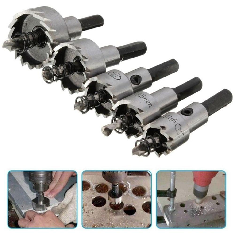 6Pcs/Set 12/14/17/18.5/20/22mm Carbide Drill Bits Stainless Steel Titanize Hole Saw Cut Tool