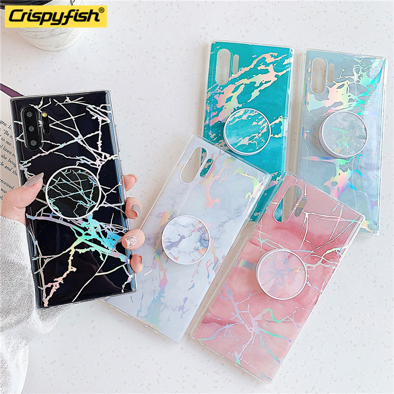 Fashion Electroplated Geometric Marble Kickstand Phone Cases For Samsung Note 8 9 10Pro s20 Ultra s7 s9 s10 plus Soft Back Cover
