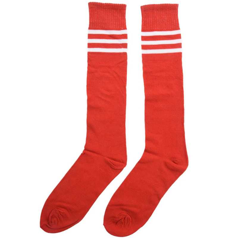 Old School White Stripe on Red Knee High Athletic Sports Tube Sock