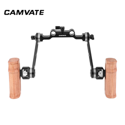 CAMVATE Dual Wooden Handle With Adjustable arri Rosette Extension Arm & 15mm Railblock For DLSR Camera Shoulder Rig C2423