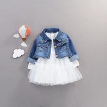 Spadek niemowlę dziewczynek ubrania stroje zestawy na co dzień kurtka dżinsowa + strój Tutu noworodka dziewczynek odzież zestawy urodzinowe 40