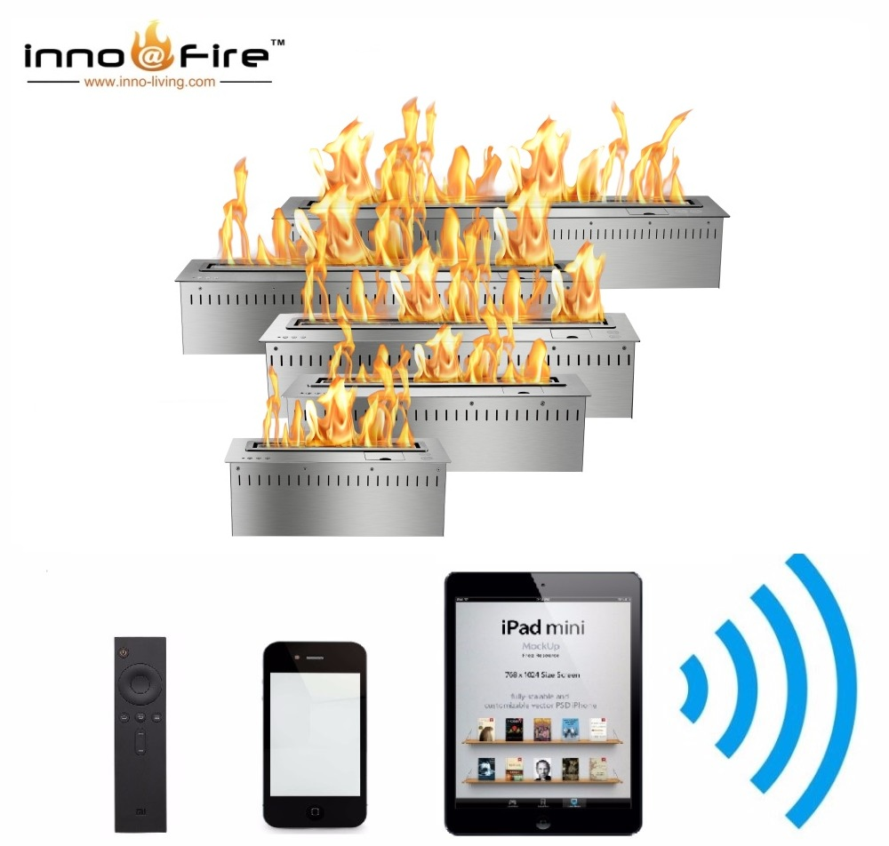 Hot Sale 60 Inches Silver Or Black Wifi Real Fire Intelligent Indoor Auto Fireplace Bio Ethanol
