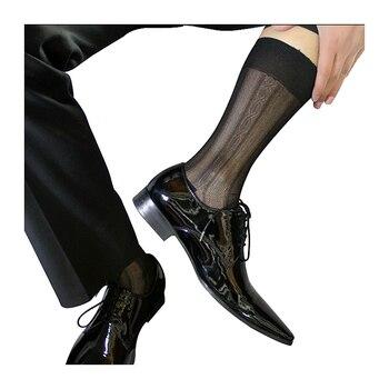 Mesh Black  Sheer Silk Men Socks Transparent Sexy Male European Style Stockings Gay Fetish Collection Free Shipping