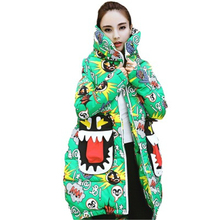 2019 New Arrival Harajuku Print Parka Winter Jacket Women Hooded Cotton Padded Jacket Long Coat Thicken Warm Chic Outerwear 2018 winter maternity hooded coat women thicken warm long jacket pregnancy cotton padded outerwear parka