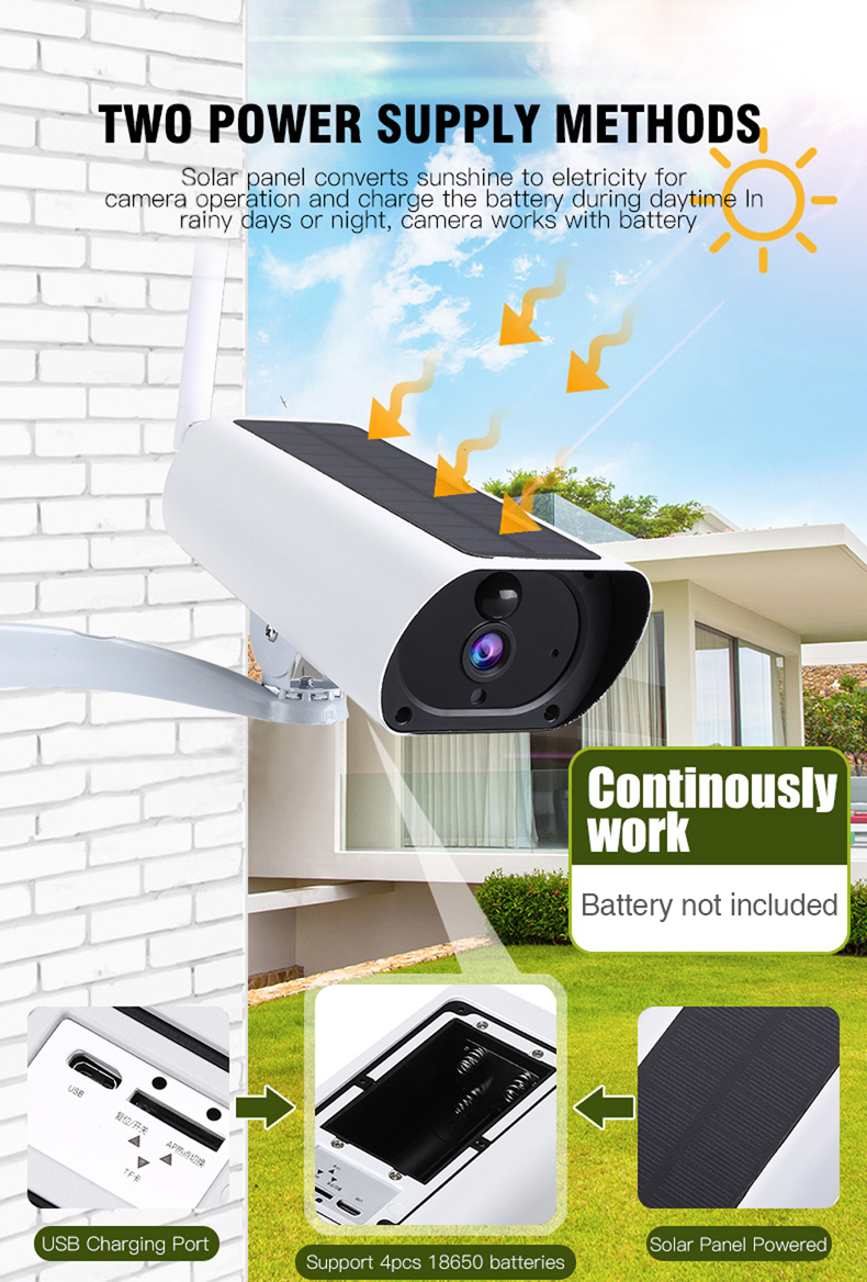 WIFI Wireless Solar Powered Surveillance IP Camera 1080P 2.0MP Waterproof Night Vision Intercom Indoor Outdoor Security Camera