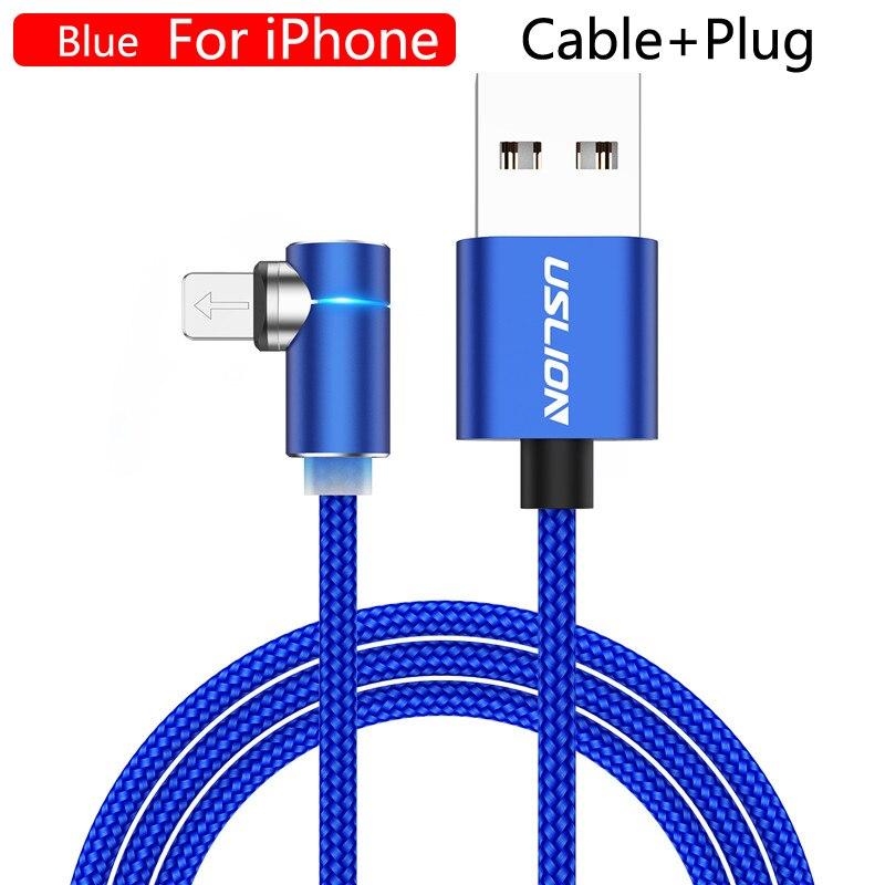 USLION 2m 3A Магнитный usb-кабель для быстрой зарядки для iPhone 11 Pro Android шнур для телефона type C кабель магнитное зарядное устройство Micro USB кабель - Цвет: For iPhone Blue