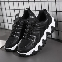 Men Sneakers Walk-Shoes Mesh Comfort Black White Design Travel Patchwork Lace-Up Zy668