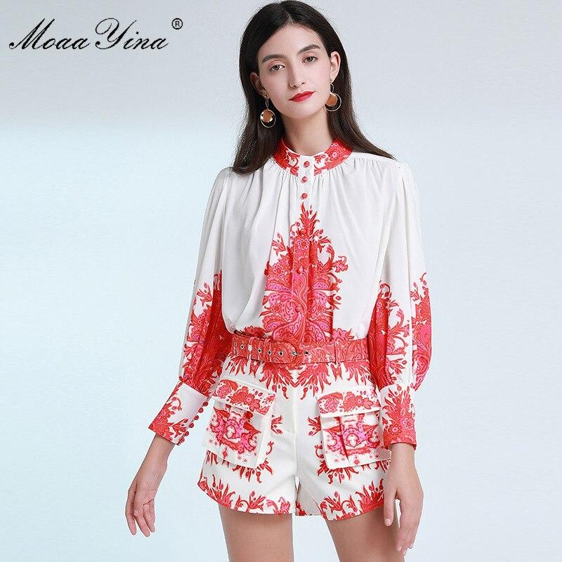 MoaaYina Fashion Designer Set Summer Women Lantern Sleeve Print Elegant Shirt Tops+Belt Shorts Two-piece Suit