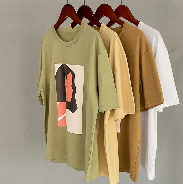 Toppies 2020 summer character t-shirts fashion girls tops short sleeve printing t-shirts korean women clothes 95% cotton 2