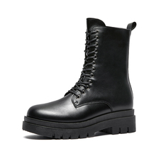Women Boots Wedges Flat Shoes 2021 Woman High Heel Platform PU Leather Boots Women Shoes Black Motorcycle Boot Girls Botas Mujer