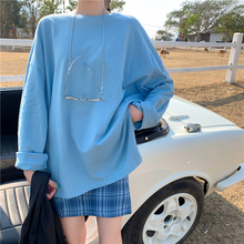 7 colors 2020 spring autumn korean style solid color spilt loose long sleeve t shirts womens