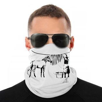 Banksy Zebra Street Artistic Magic Scarf Half Face Mask Halloween Tube Mask Neck Bandana Multi-functional Headband Biking Hiking