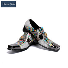 Derby Shoes Christia Bella Designer Wedding Business-Style Party Men's Brand Chain Plus-Size