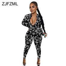 Paisley Bandana Print Romper Vrouwen Jumpsuit Volledige Mouw Diepe V-hals Fitness Bodysuit Streetwear Zwart Wit Party Club Catsuit