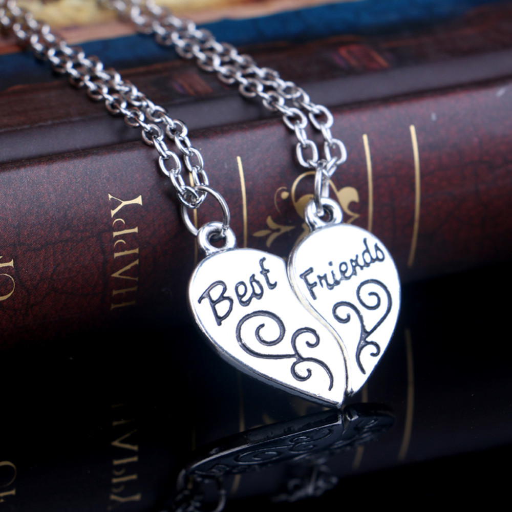 Alloy Necklace Heart Shape Carved Best Friends Pendent Two Pieces Combination CLOVER JEWELLERY
