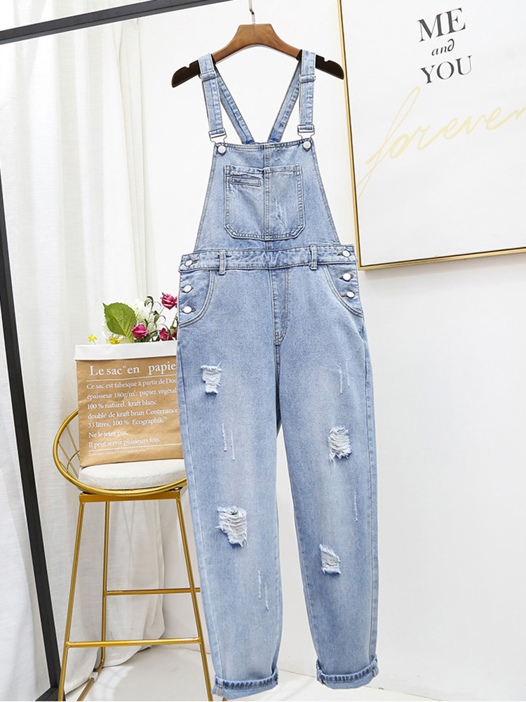 Plus Size Women Jumpsuits Oversize 5XL Loose Casual Baggy Suspenders Overalls For Women Jeans Ripped Holes Rompers Jumpsuits