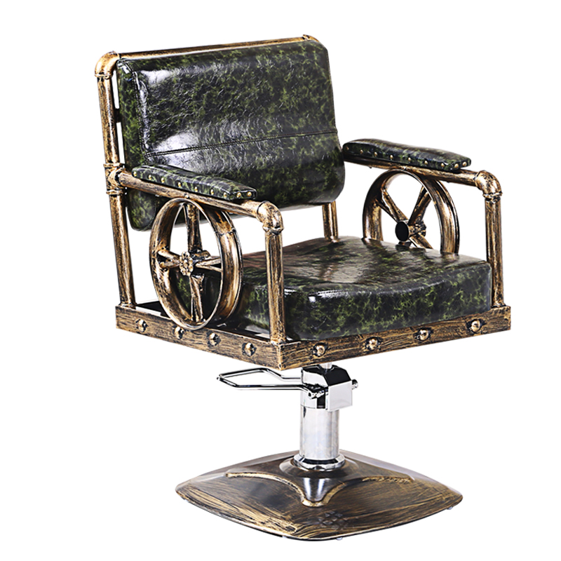 Retro Wrought Iron Barber Shop Chair Lift Chair Handle Chair Hair Salon Barber Chair Hair Salon Chair Can Be Put Down