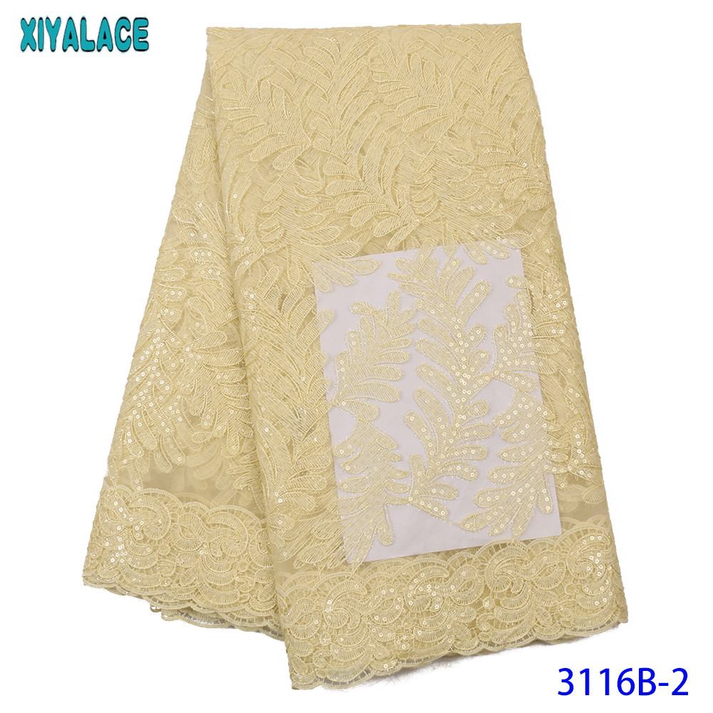 2019 High Quality Latest Sequins New Sequins Lace Fabric African Lace Fabric Wedding French Tulle Lace Fabric Nigerian KS3116B