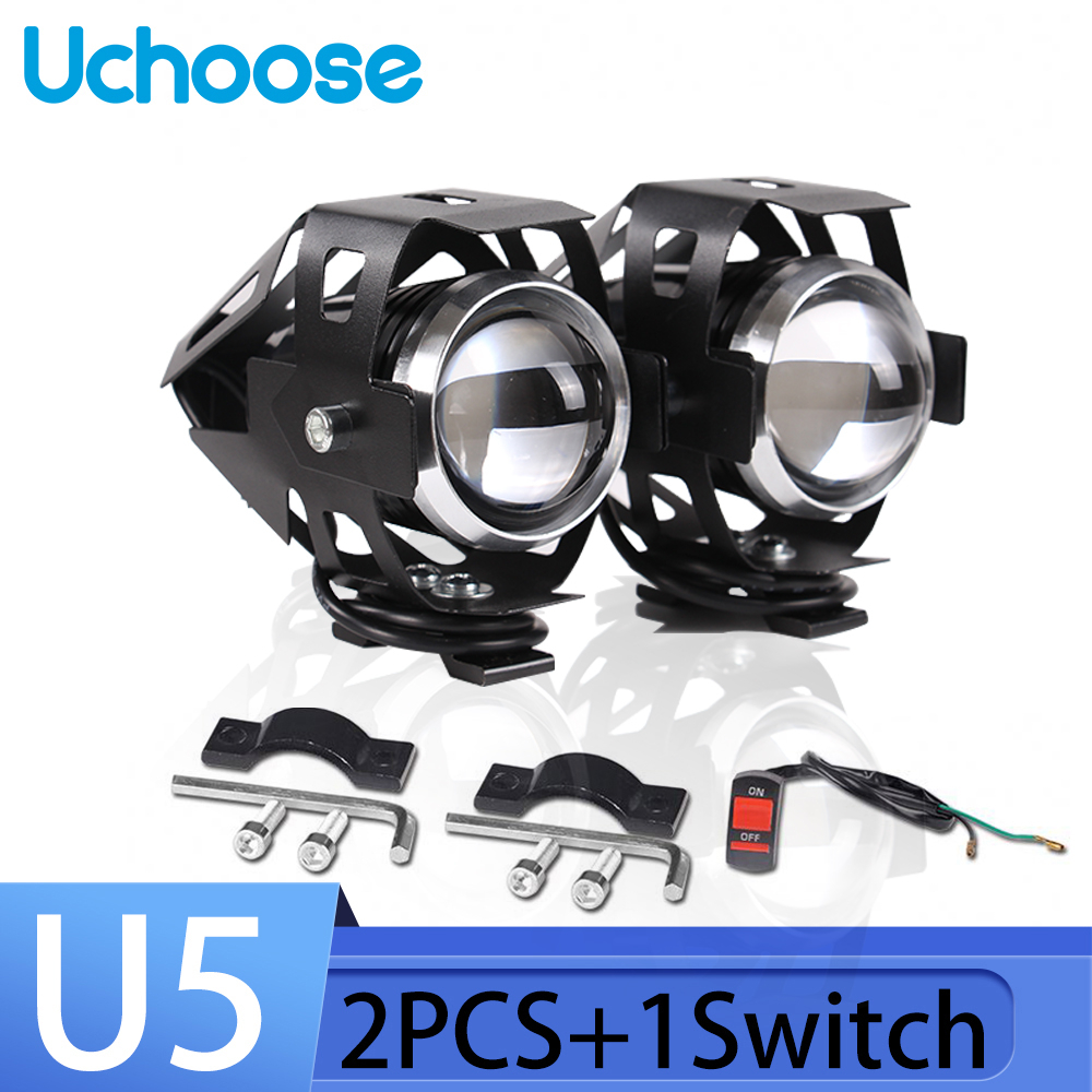 Hot Sale Motorcycle Headlight U5 2Pcs 12V 125W Motorbike Driving Spotlight High Low Beam Flash Motorcycle Head Light Lamp