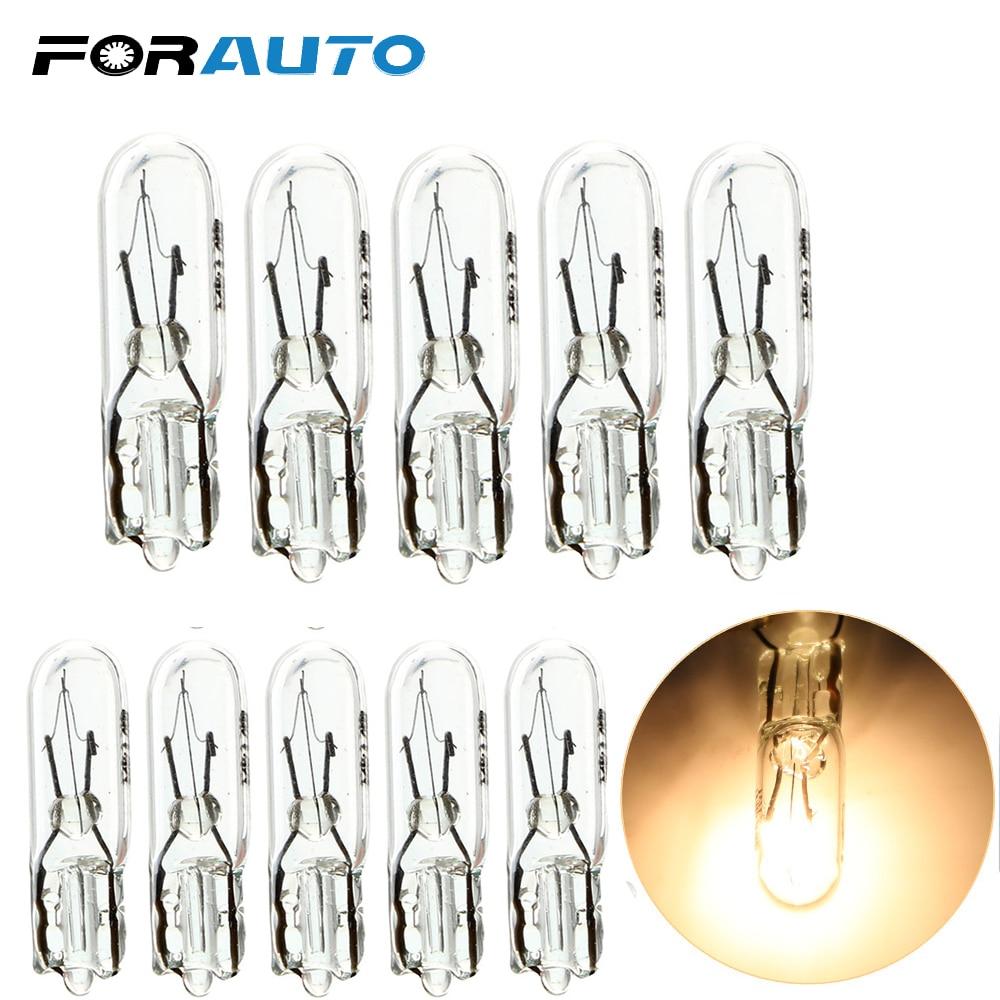 FORAUTO 10pcs T5 286 Halogen Bulb Car Instrument Panel Lamp Auto Wedge Dashboard Lamp 1.2W 12V Light Source Car-styling