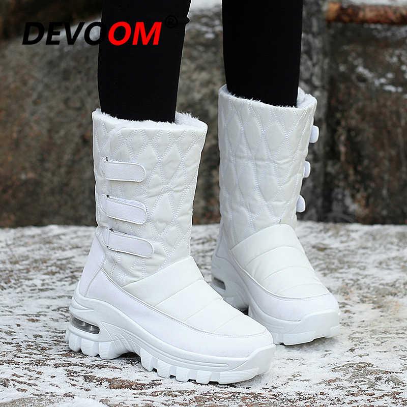 Yeni kış yüksek Top kadın yürüyüş kar botları peluş sıcak su geçirmez ayakkabı artı boyutu 34-42 kız beyaz tırmanma ayakkabı açık botlar