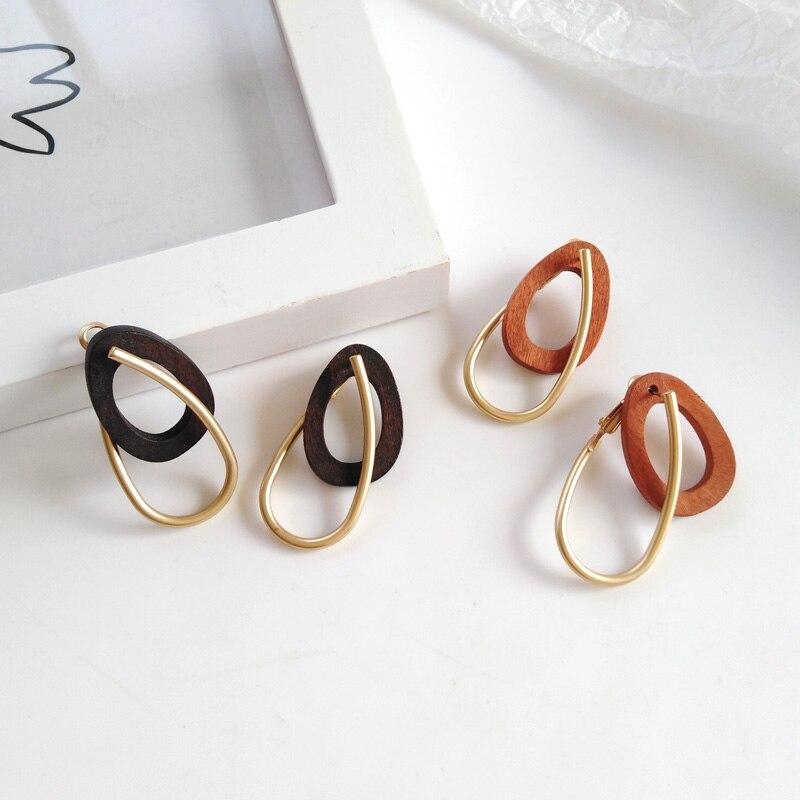 Vintage Geometry Personality Double Earrings Hyperbole Matte Metal Earrings Minimalist Style Jewelry Making Wood Earrings