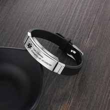 Customized Silicone Medical Alert ID Bracelet Waterproof Stainless Steel Emergency Identification Bangle Adjustable Size