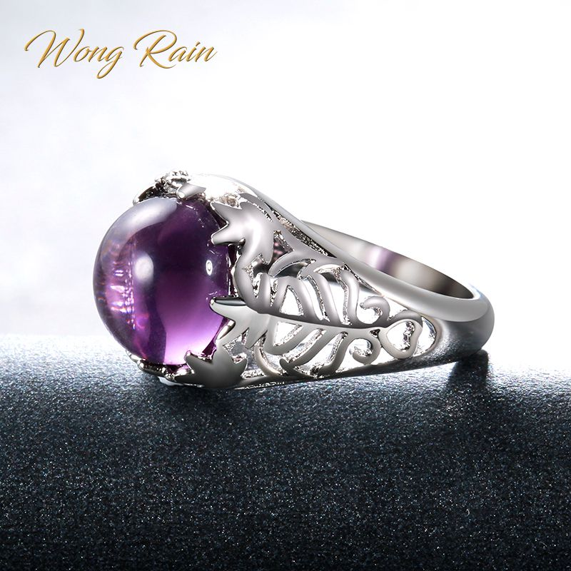 Wong Rain Vintage 100% 925 Sterling Silver Amethyst Gemstone Birthstone Wedding Engagement  Ring Bands Fine Jewelry Wholesale