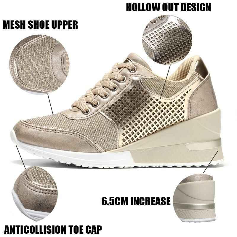 Kadın yüksekliği artan yürüyüş koşu Sneakers 6.5 CM artış altın gümüş bayanlar spor koşu ayakkabıları rahat kız ayakkabı