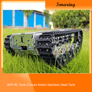 WiFi RC Tank Chassis Robot Stainless Steel Tank Truck Intelligent Robot Chassis Metal Crawler with Shock Absorber for Model Toy