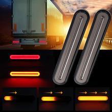 100LED двухцветный светильник для проточной воды, направляющий тяжелый грузовой прицеп, тормозной поворотный задний светильник, желтый светильник для проточной воды