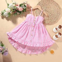 2021 Kids Slip Dress,  9 Months-6 Years\uff0cGirls Striped Sleeveless Spaghetti Strap 1-Pcs Sundress for Summer, Pink
